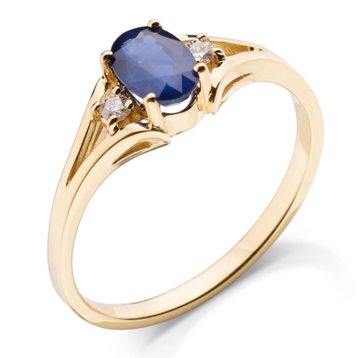 8468f323053e45 Zaręczynowy pierścionek z żółtego złota z szafirem i dwoma brylantami ...