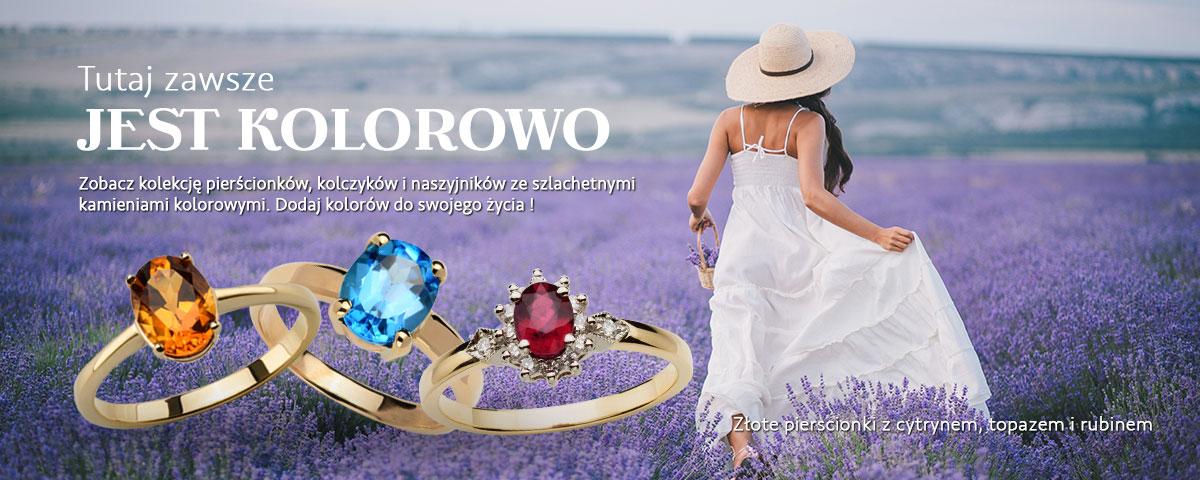 Biżuteria z kolorowymi kamieniami szlachetnymi. Pierścionki, naszyjniki, kolczyki, bransoletki.